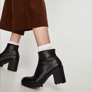 Zara sock style ankle boot with track sole